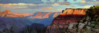 Kitchen Food And Drink Signs - Evening Light at the Grand Canyon by Steve Henderson
