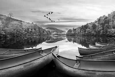 Photograph - Evening On The Lake In Black And White by Debra and Dave Vanderlaan