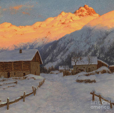 Painting - Evening On The Mountain by Ivan Fedorovich Choultse