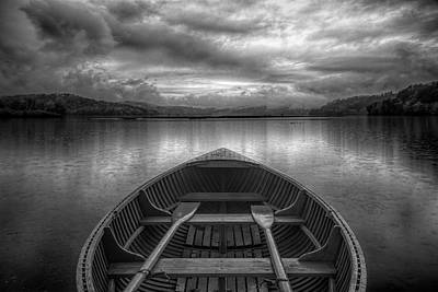 Photograph - Evening Rowboat In Black And White by Debra and Dave Vanderlaan