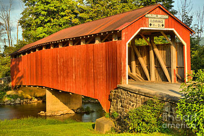 Photograph - Evening Sun On The Turkey Trail Covered Bridge by Adam Jewell