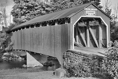 Photograph - Evening Sun On The Turkey Trail Covered Bridge Black And White by Adam Jewell