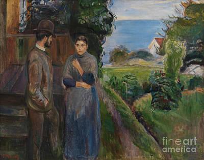 Painting - Evening Talk, 1889 by Edvard Munch