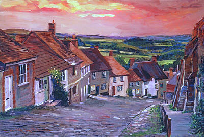 Painting - Evening Village Stroll by David Lloyd Glover