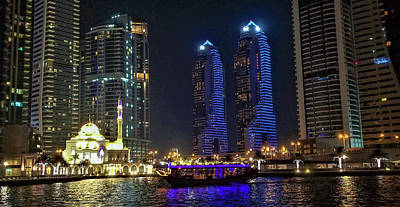 Evening Waterfront Scene, Dubai Marina, Dubai, United Arab Emirates Art Print