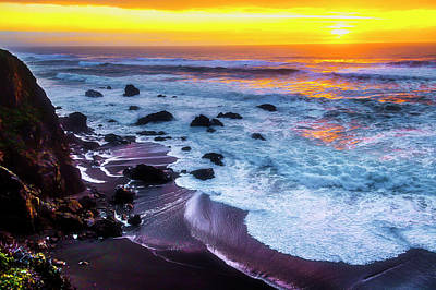 Photograph - Evening Waves At Sunset by Garry Gay