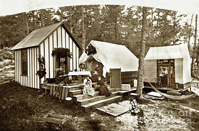 Photograph - Everett Pomeroy Family Cabin And Tents On 7th St. Pacific Grove by California Views Archives Mr Pat Hathaway Archives