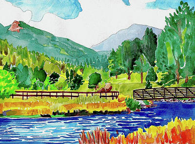 Painting - Evergreen Lake Spring Watercolor by Dan Miller