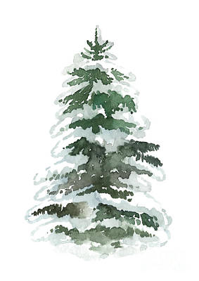 Painting - Evergreen Tree Covered In Snow by Joanna Szmerdt