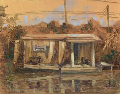Painting - Evinrude Service And Bait Shop by David Bader