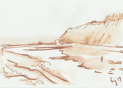 Drawing - Exmouth Beach Monochrome Watercolor Study by Mike Jory
