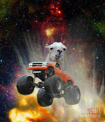 Digital Art - Extreme Grumpy Lama Driving A Monster Truck Jumping Over An Explosion With Galaxy by Erik Paul