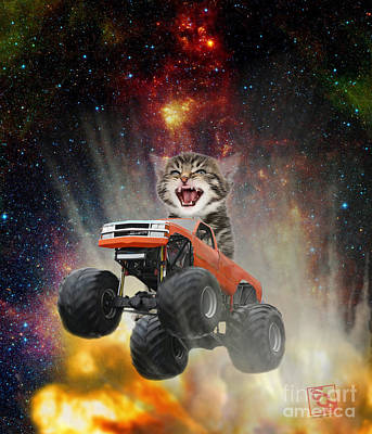 Digital Art - Extreme Kitten Driving A Monster Truck Jumping Over An Explosion With Galaxy 2  by Erik Paul