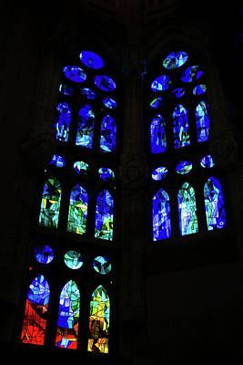 Photograph - Exuberant Stained Glass Windows In Varicolored Blues by Georgia Mizuleva
