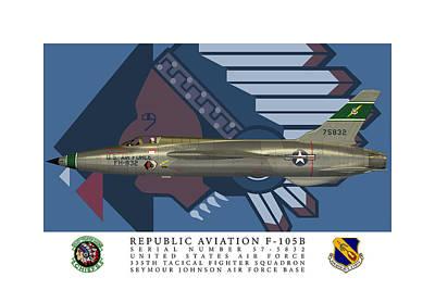 Digital Art - F-105b 335th Chiefs Profile by John Matthews
