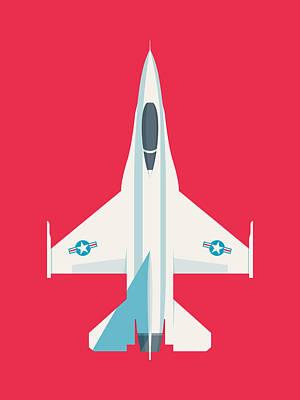 Falcons Wall Art - Digital Art - F-16 Falcon Fighter Jet Aircraft - Crimson by Ivan Krpan