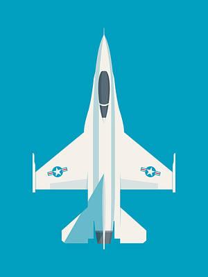 Falcons Wall Art - Digital Art - F-16 Falcon Fighter Jet Aircraft - Cyan by Ivan Krpan