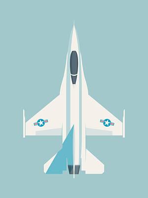Falcons Wall Art - Digital Art - F-16 Falcon Fighter Jet Aircraft - Sky by Ivan Krpan