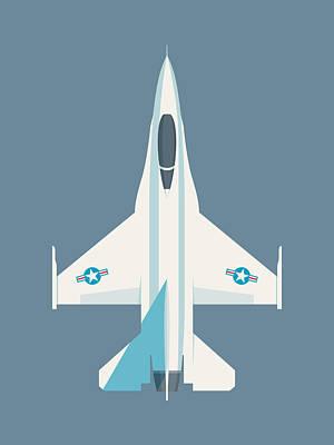Falcons Wall Art - Digital Art - F-16 Falcon Fighter Jet Aircraft - Slate by Ivan Krpan