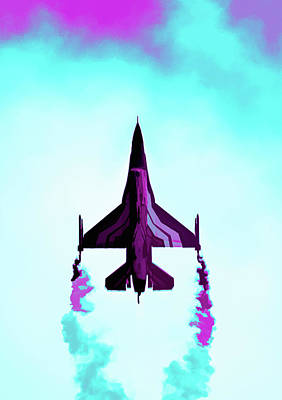 Digital Art - F-16 Fighting Falcon Abstract by Scott Lyons