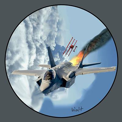 Digital Art - F-35 Vs The Red Baron by Walter Chamberlain
