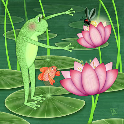 Digital Art - F Is For Frog by Valerie Drake Lesiak