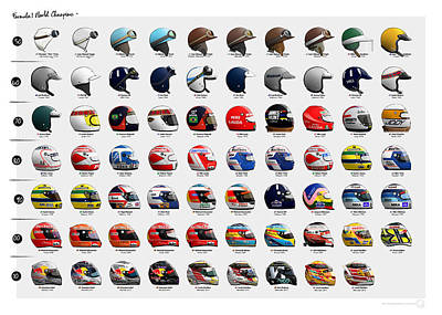 Benetton Wall Art - Digital Art - F1 World Champions' Helmets by Last Corner