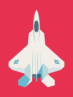 Raptor Wall Art - Digital Art - F22 Raptor Jet Fighter Aircraft - Crimson by Ivan Krpan