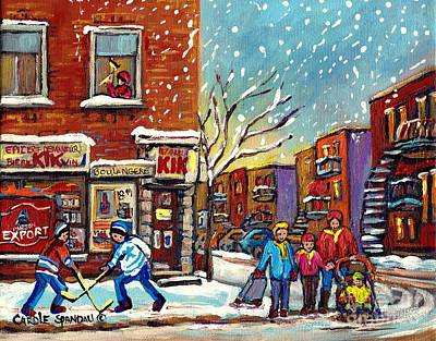 Painting - Face Off Street Hockey At The Corner Dep Snow Falling Streets Of Montreal Quebec Artist C Spandau by Carole Spandau