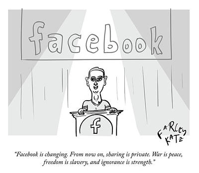 Drawing - Facebook Doublethink by Farley Katz