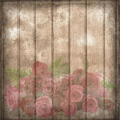 Painting - Faded Red Country Roses On Wood by Shabby Chic and Vintage Art