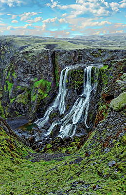 Photograph - Fagrifoss Waterfall Scenic by Anthony Dezenzio