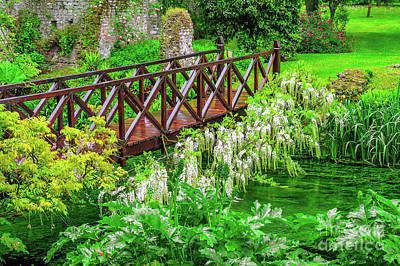 Royalty-Free and Rights-Managed Images - Fairy Tale Bridge Vivid Green River Wooden Full Of Flowers In Ornamental Garden by Luca Lorenzelli