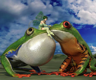 Fantasy Digital Art Rights Managed Images - Fairy Tale Frogs Royalty-Free Image by Betsy Knapp