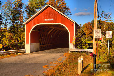 Photograph - Fall Afternoon At The Cresson Covered Bridge by Adam Jewell