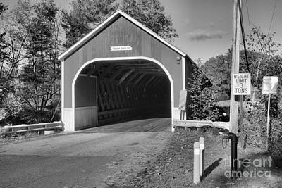 Photograph - Fall Afternoon At The Cresson Covered Bridge Black And White by Adam Jewell