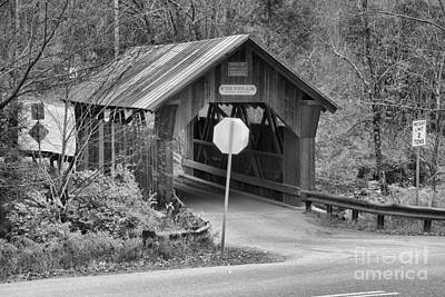 Photograph - Fall At Emily's Covered Bridge Black And White by Adam Jewell