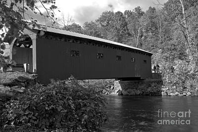 Photograph - Fall At The Arlington Green Covered Bridge Black And White by Adam Jewell