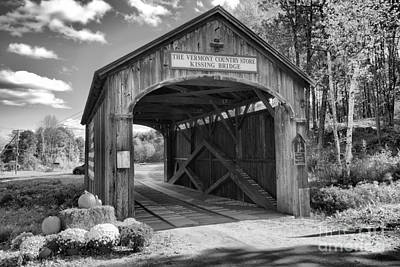 Photograph - Fall At The Kissing Bridge Black And White by Adam Jewell