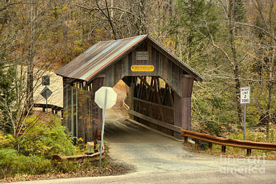 Photograph - Fall At The Stowe Hollow Covered Bridge by Adam Jewell
