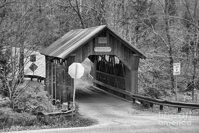 Photograph - Fall At The Stowe Hollow Covered Bridge Black And White by Adam Jewell