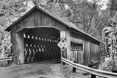 Photograph - Fall Colors At The Coombs Covered Bridge Black And White by Adam Jewell