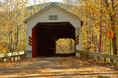 Photograph - Fall Colors At The Eagleville Covered Bridge by Adam Jewell