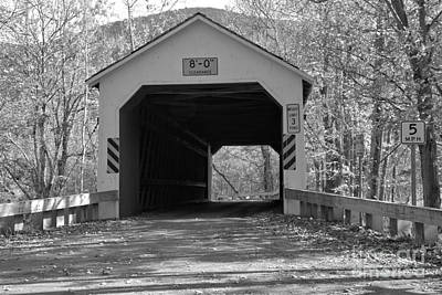 Photograph - Fall Colors At The Eagleville Covered Bridge Black And White by Adam Jewell