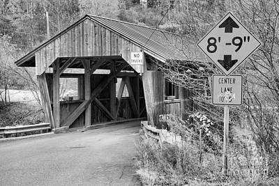 Photograph - Fall Colors At The Power House Covered Bridge Black And White by Adam Jewell