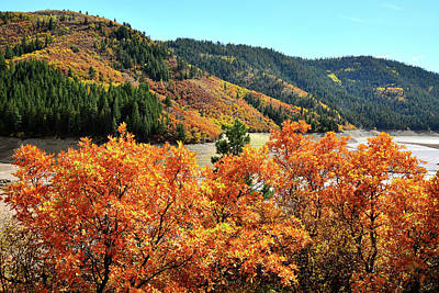 Photograph - Fall Colors Line Reservoir Along Highway 133 by Ray Mathis