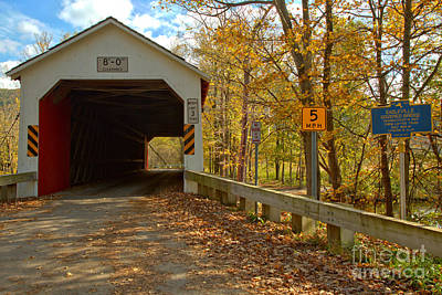 Photograph - Fall Day At The Eagleville Covered Bridge by Adam Jewell