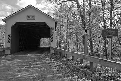 Photograph - Fall Day At The Eagleville Covered Bridge Black And White by Adam Jewell