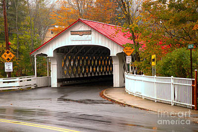 Photograph - Fall Foliage At The Ashuelot Covered Bridge by Adam Jewell