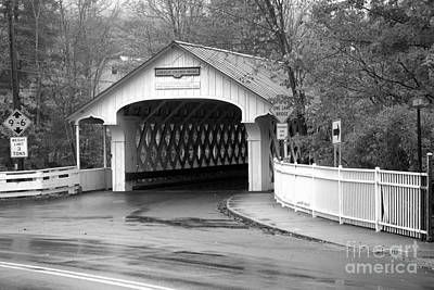 Photograph - Fall Foliage At The Ashuelot Covered Bridge Black And White by Adam Jewell